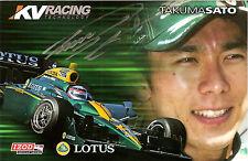 2010 TAKUMA SATO signed INDINANAPOLIS 500 PHOTO CARD POSTCARD INDY CAR LOTUS KV