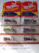 2004 Hot Wheels Classics Series 1 24/25 T Bucket 6 Car Set in 6 Colors