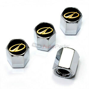 4 Oldsmobile Gold Logo Chrome ABS Tire/Wheel Pressure Air Stem Valve CAPS Covers