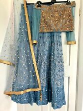 Fully stitched Indian Asian Bollywood Lengha Size 12 Grey/blue/gold Fashion