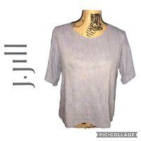 Pure J. Jill Linen Blend Blouse Women's Size XS Short Sleeve Boxy Fit