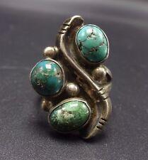 Vintage NAVAJO Sterling Silver & Sampler TURQUOISE RING, size 6.75