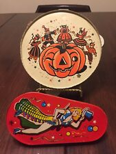 US Metal MFG Co Vintage Halloween Tamborine & New Yesrs Dancing Lady Noise Maker