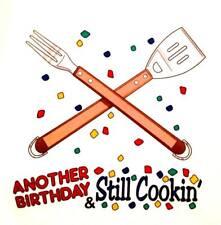 Another Birthday & Still Cookin' Chef BBQ Apron White Cotton Birthday Gag Gift