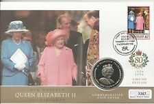 UNION ISLAND QE11 2006 80th BIRTHDAY QUEEN MOTHER 1 CROWN COIN  FDC MINT