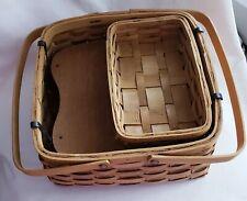 3 Piece Natural Woven Pie Basket & Divider Set Vintage Tender Heart Treasures
