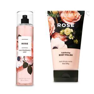 Bath and Body Works ROSE Fine Fragrance Mist and Exfoliating Body Polish