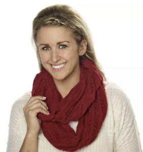 Celeste Infinity Scarf Cashmere Blend Cable Knit Burgundy Bordeaux NEW WOMEN
