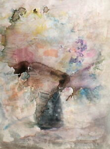 Vintage watercolor painting abstract still life with flowers