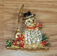 Collectible Shiny Holiday Winter Christmas Themed Rhinestone Snowman Pin *READ*