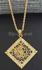 Osmanli Tugra Kette Halskette Gold Anhänger 24 Karat GP Altin Kaplama Ceyrek *