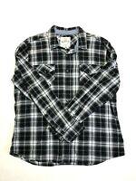 Roebuck & Co Men's XL Long Sleeve Pearl Snap Front Shirt Gray Plaid 100% Cotton
