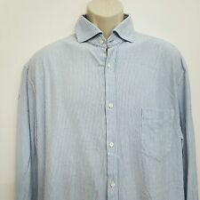 Brunello Cucinelli Mens Button Up Shirt 56 US 44 Blue Striped Cotton Italy L/S