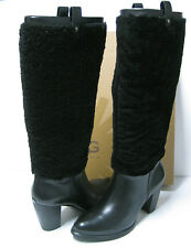 UGG AVA EXPOSED FUR WOMEN TALL BOOTS BLACK US8.5 /UK7 /EU39.5