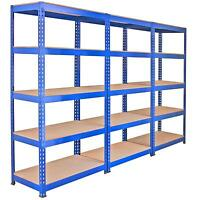 3 Racking Bays 90cm Warehouse Shelves Storage Garage Shelving Unit Steel 5 Tier