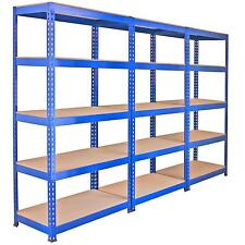 3 Racking Bays 90cm Warehouse Shelves Storage Garage Shelving Unit Steel 5 Tier