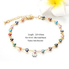 Womens Turkish Jewelry Gold Filled Charm Evil Eye Chain Bracelet Rainbow Enamel