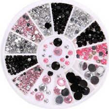 3D Nail Art Tips gems 3 COLORS Crystal Glitter Rhinestone DIY Decoration + Wheel