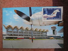 AVIATION 122 airplane airport BUKAREST 1970 ROMANIA aircraft MAXIMUM CARD