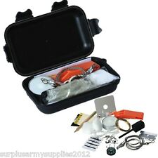 MILITARY SURVIVAL KIT 15 IN 1 WHISTLE MIRROR FIRE STARTER CAMPING ARMY SURVIVAL