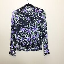 St. John Silk Button Down Blouse Silk Floral Size 2 Purple And Black Long Sleeve