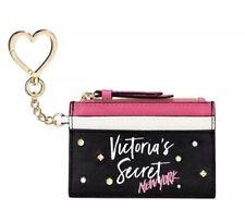 Victoria's Secret New York Stud ID Card Holder Case Keychain Black White Pink