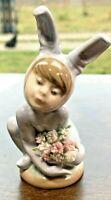 "Vintage Lladro ""In the Meadow"" Figurine Boy in Bunny Costume #1508 – No Box"
