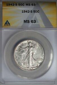 1942-S  .50   ANACS  MS 63  Walking Liberty, Half Dollar, Lady Liberty Half