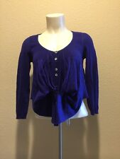 Anthropologie Knitted & Knotted Sweater Crop Cardigan Dark Purple Xsmall