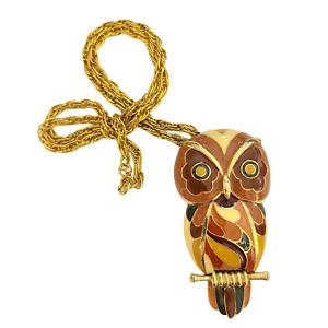 1970s Eisenberg Enameled Owl Pendant in Autumn Tones - Artist Series