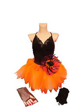 Halloween Neon Orange Tutu Skirt BLACK Leg Warmers & Gloves 80S FANCY DRESS