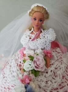Fairy Tale Wedding dress and Doll, Pink Handmade, Annie's Attic, crochet