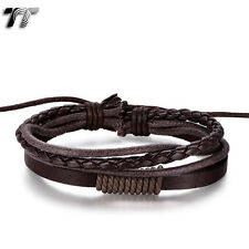 Quality TT Deep Brown Genuine Leather Bracelet Wristband (LB325) NEW