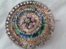 "Victorian Silver Brooch W, Enamel , Rubies & Emerald Center 2"" Layered Circles"