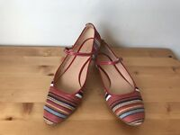 CASADEI Multi-color striped tribe Mary Jane flats shoes 7B
