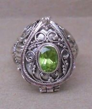 Handmade Sterling Silver Peridot Poison---Keepsake or Cremation Ring Sz  6-7-8-9
