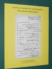 """Catalogue Lettres et manuscrits autographes  N° 7 Galerie """"Arts et Autographes"""""""