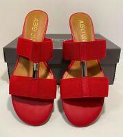 AUBREY LYNN Women's Al-Josena Red Cotton elastic/Calf P Shoes Size 7.5