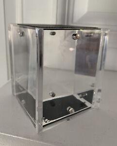 Vintage COACH Leatherware Magnetic Acrylic Photo Cube Holds 4 3x4 Images Heavy