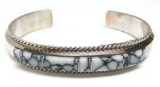 Navajo White buffalo Inlay Sterling Silver Cuff Bracelet - Fran Yazzie