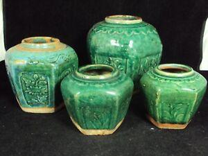 4 antique Chinese green glazed ginger jars