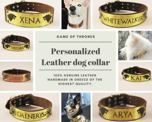 Game of Thrones Personalized Leather Dog Collar Large L XL Soft Name Custom Tag