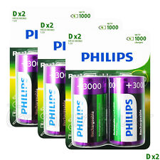 6 x Philips Rechargeable D Size batteries 3000mAh 1.2V Ni-MH HR20 MONO Pack of 2