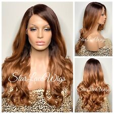 Long Wavy Curly Strawberry Blonde Wig Women's Synthetic Hair Brown Roots Heat Ok