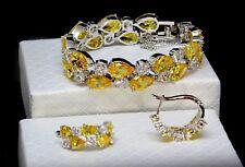 14k White Gold GF Bracelet Earring made w Swarovski Crystal Yellow Citrine Stone