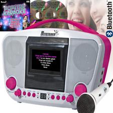 Portable Karaoke Boom Box Machine CD CD-R CD-RW MP3G CD+G Bluetooth & USB Pink