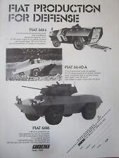 1976 PUB FIAT IVECO BLINDE AMPHIBIE 4X4 FIAT 6614 6616 6640 A ORIGINAL AD