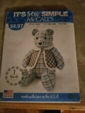 "McCall's 18"" New Memory Bear and Vest Pattern L9547 same as Simplicity A2115"
