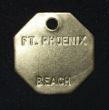 Brass 30mm Ft Fort Phoenix Beach Vintage Keychain Fob Plaque Tag