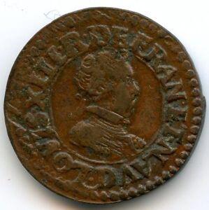 Louis XIII (1610-1643) Double tournois 1618 D Lyon Qualité